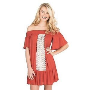 Flying Tomato Rust Off Shoulder Crochet Dress